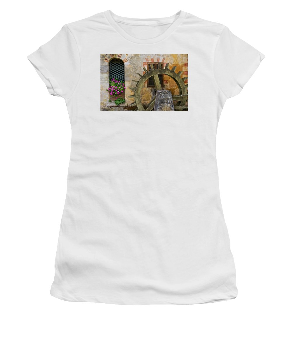 Waterwheel Women's T-Shirt (Athletic Fit) featuring the photograph Waterwheel by David Freuthal