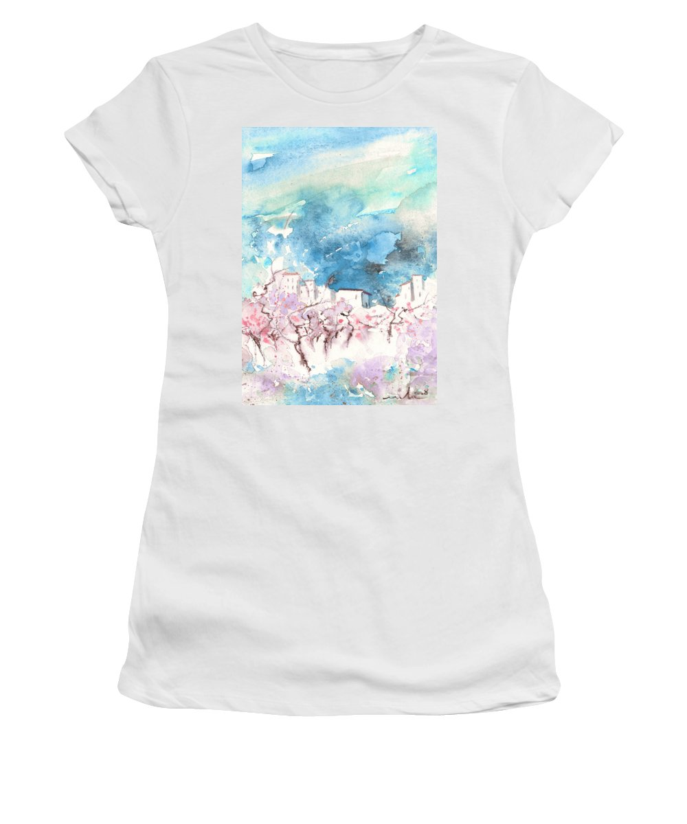 Travel Art Women's T-Shirt featuring the painting When Trees Were Still Trees by Miki De Goodaboom
