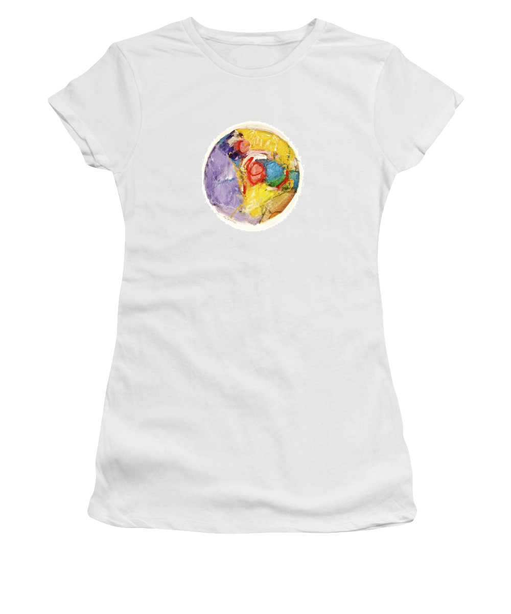 Abstract Women's T-Shirt (Athletic Fit) featuring the painting White Informs Red -start- by Cliff Spohn