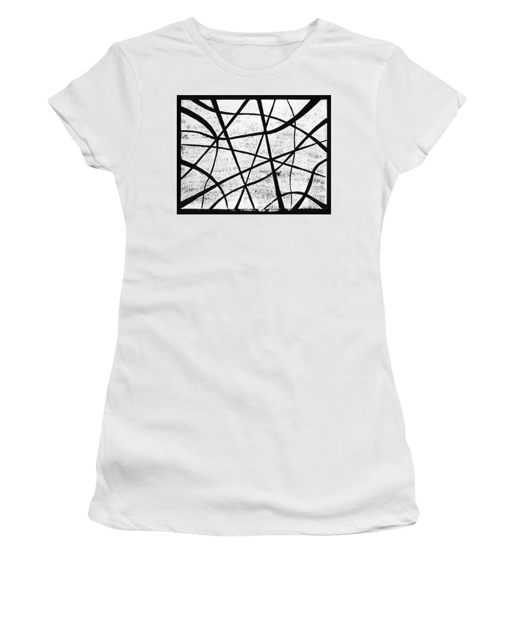 Linocut Women's T-Shirt (Athletic Fit) featuring the painting White On Black by Hakon Soreide
