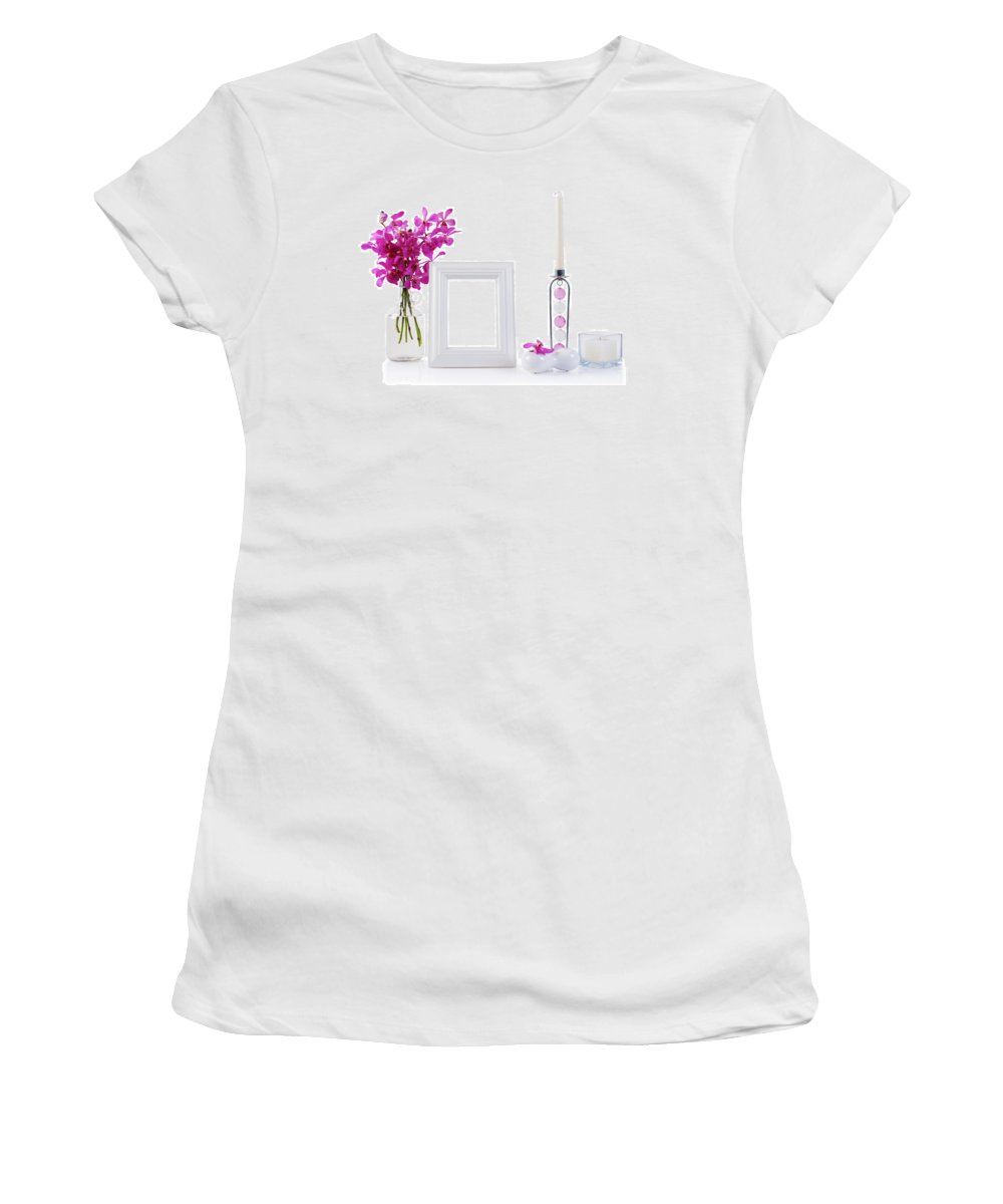 Frame Women's T-Shirt featuring the photograph White Picture Frame In Decoration by Atiketta Sangasaeng