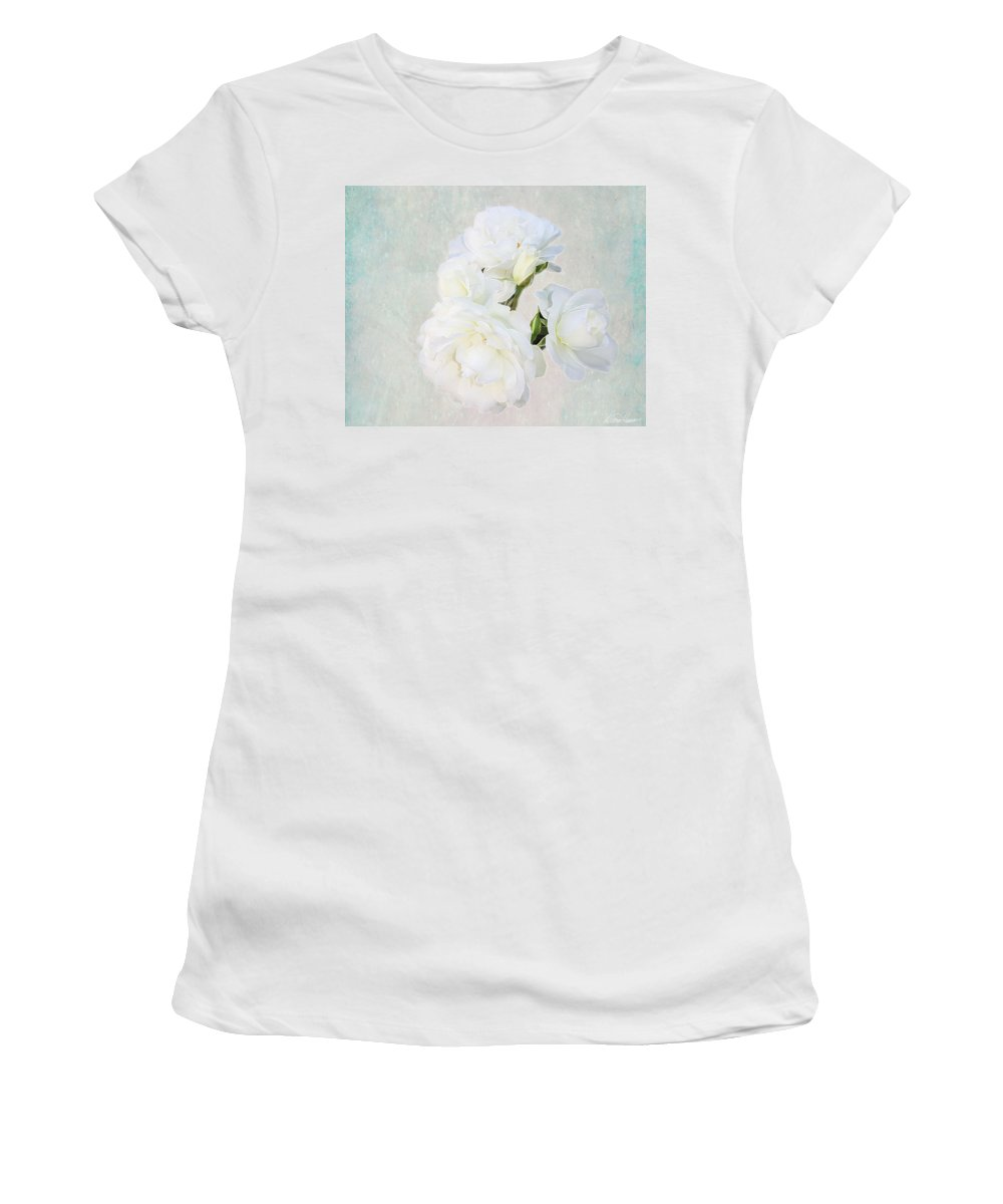 White Women's T-Shirt featuring the photograph White Roses by Diana Haronis