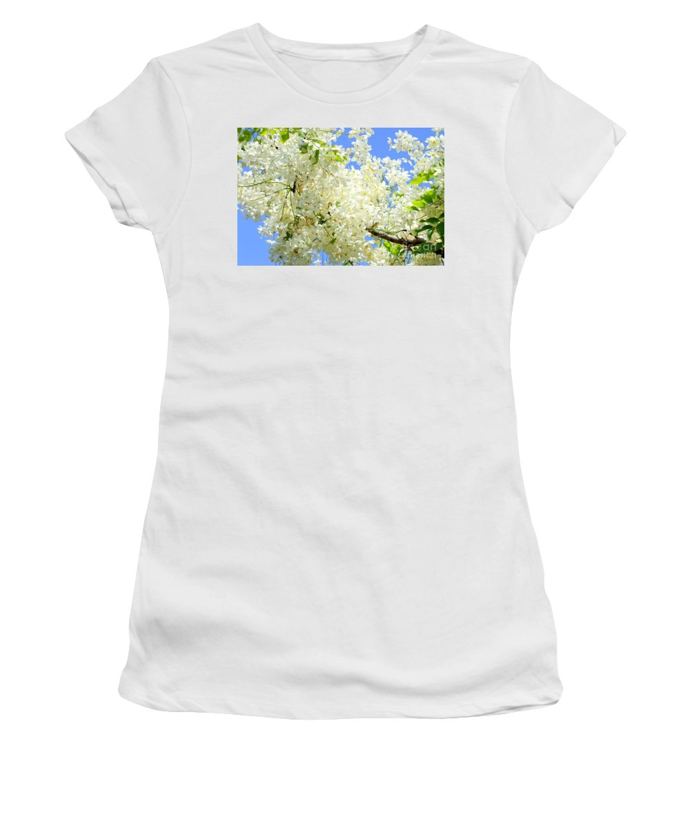 White Women's T-Shirt (Athletic Fit) featuring the photograph White Shower Tree by Mary Deal
