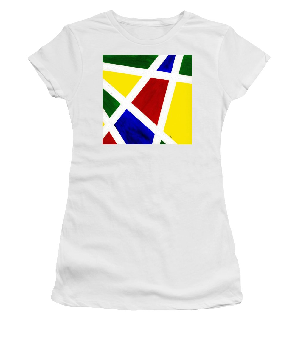 Abstract Women's T-Shirt (Athletic Fit) featuring the painting White Stripes 3 by Hakon Soreide