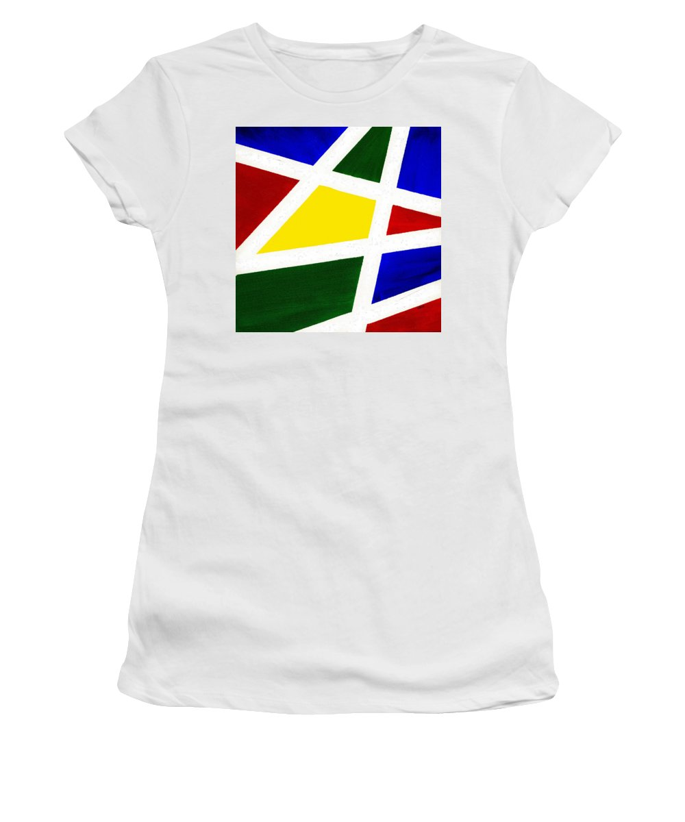 Abstract Women's T-Shirt (Athletic Fit) featuring the painting White Stripes 4 by Hakon Soreide