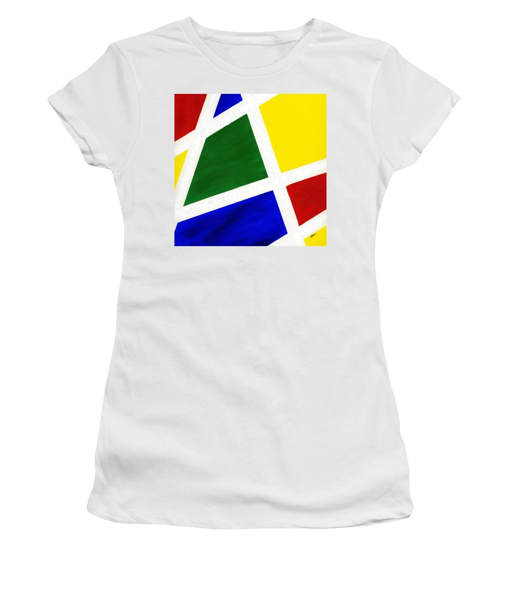 Abstract Women's T-Shirt (Athletic Fit) featuring the painting White Stripes 6 by Hakon Soreide