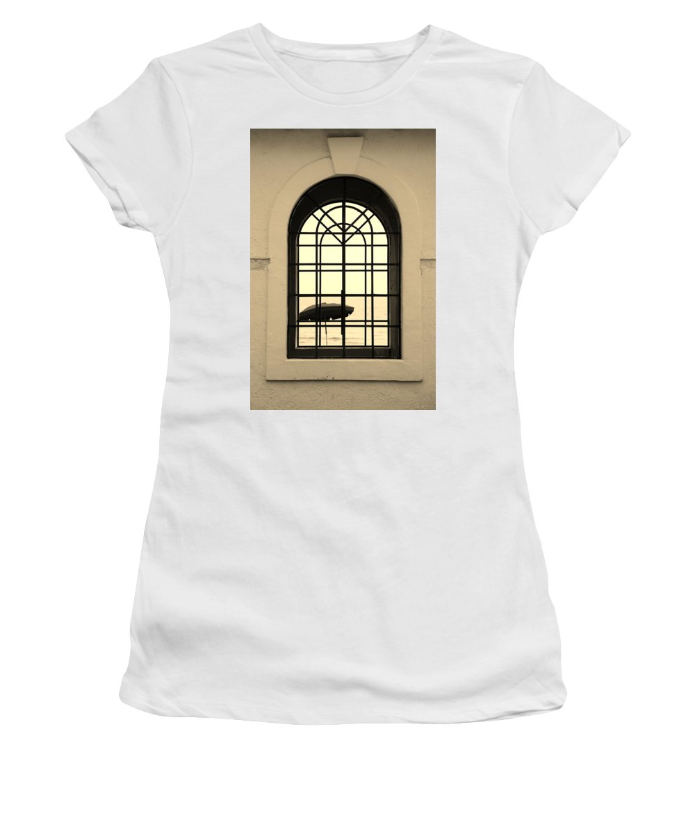 Windows Women's T-Shirt (Athletic Fit) featuring the photograph Windows On The Beach In Sepia by Rob Hans