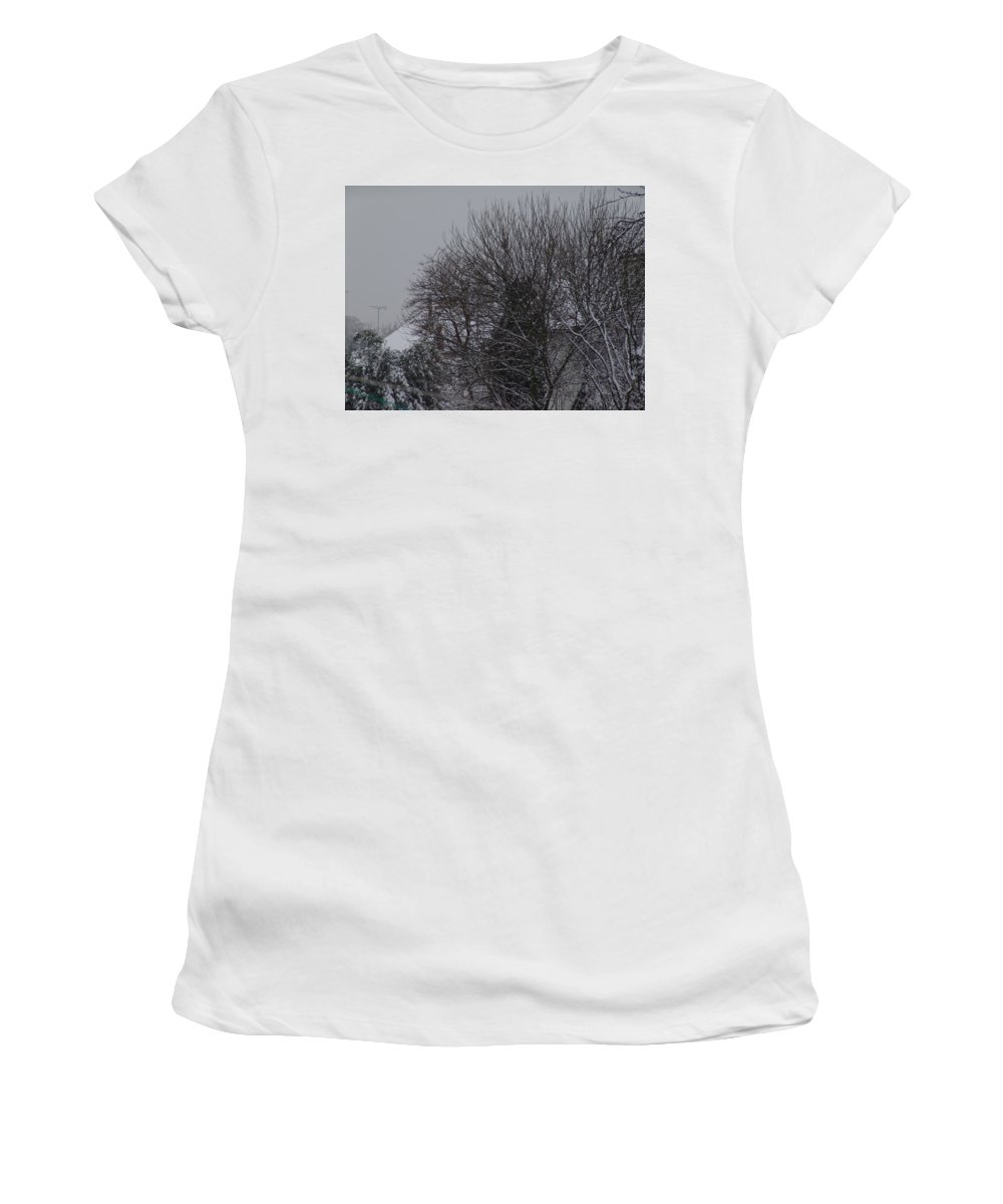Snow Women's T-Shirt (Athletic Fit) featuring the photograph Winter Cold Branches by Ashok Patel