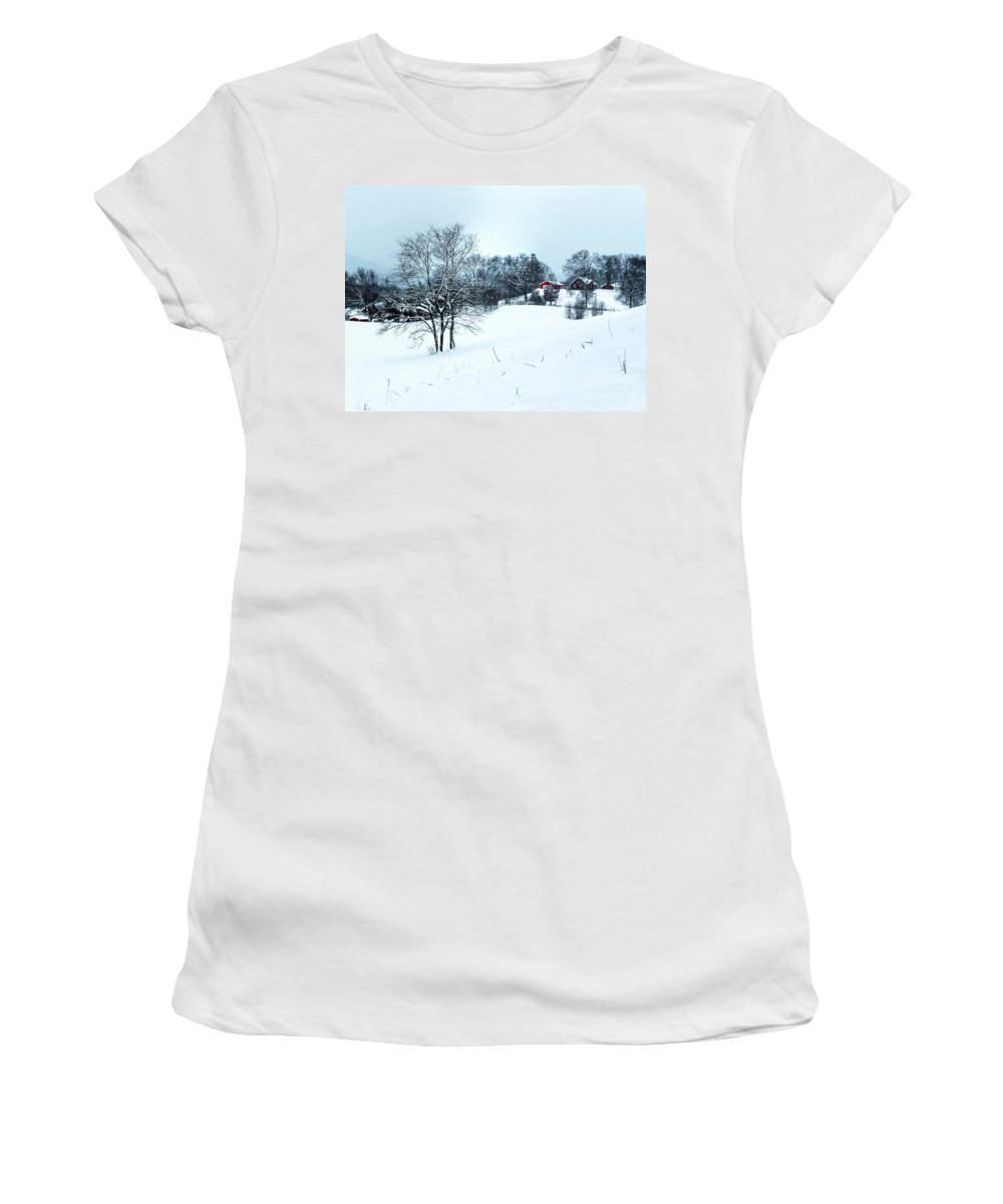 Alone Women's T-Shirt (Athletic Fit) featuring the photograph Winter Landscape 1 by Dan Stone