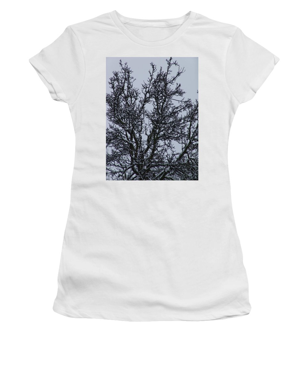 Snow Women's T-Shirt (Athletic Fit) featuring the photograph Winter Tree by Ashok Patel