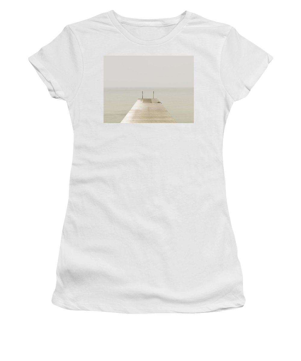 Photography Women's T-Shirt (Athletic Fit) featuring the photograph Wooden Pier On Misty Lake At Dawn by Axiom Photographic