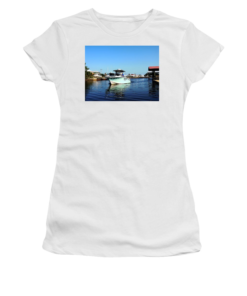 Fishing Women's T-Shirt (Athletic Fit) featuring the photograph Woods N Water Fishing Team by Marilyn Holkham