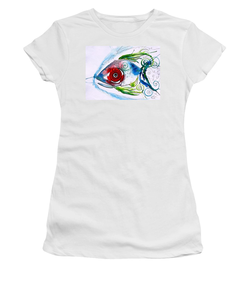 Paintings Women's T-Shirt (Athletic Fit) featuring the painting Wtfish 001 by J Vincent Scarpace
