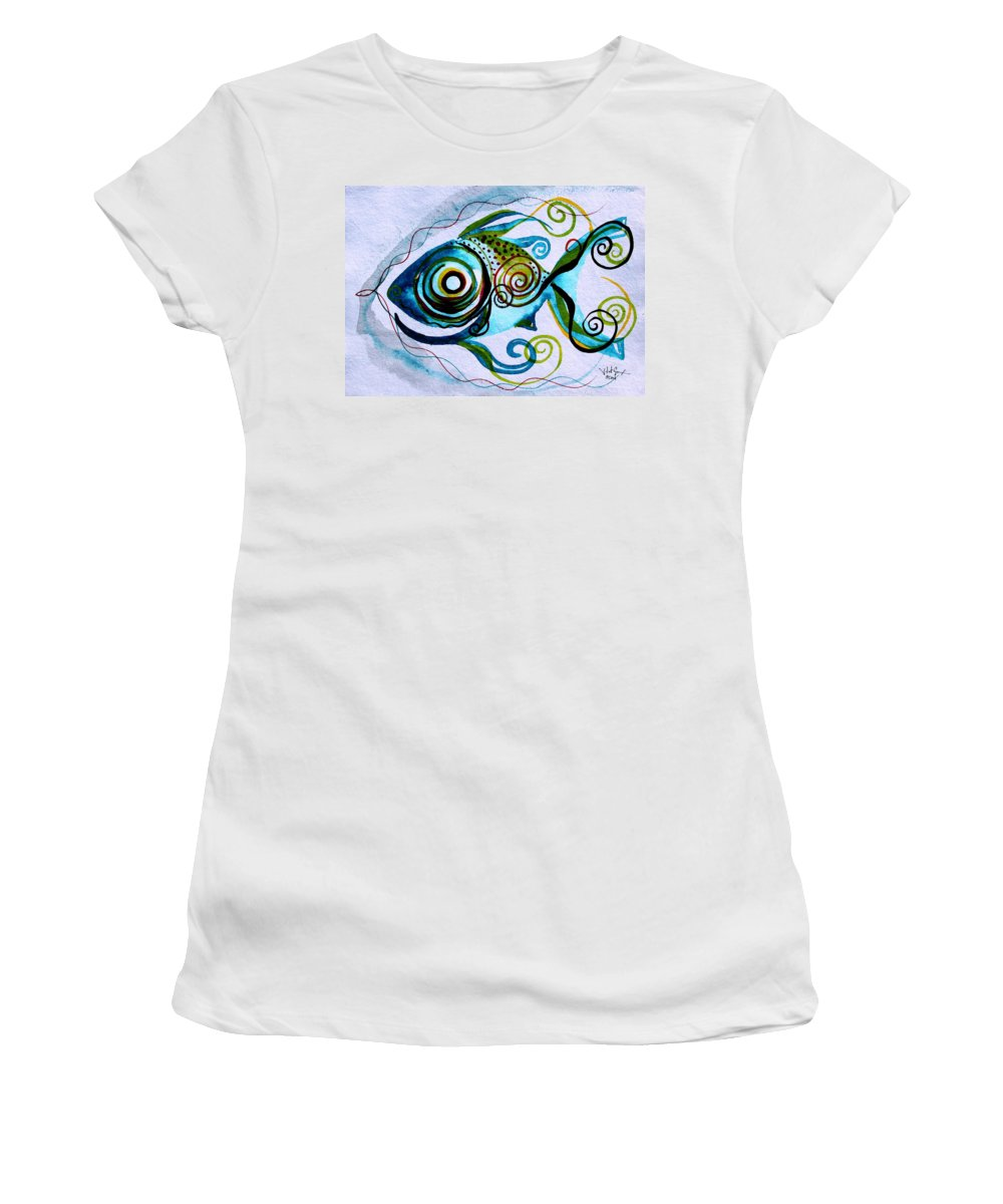 Paintings Women's T-Shirt (Athletic Fit) featuring the painting Wtfish 006 by J Vincent Scarpace