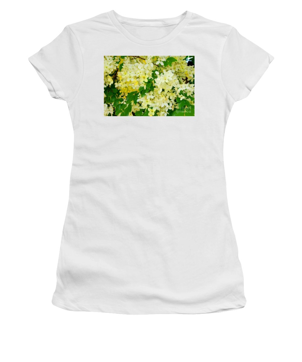 Yellow Women's T-Shirt (Athletic Fit) featuring the photograph Yellow Shower Tree - 1 by Mary Deal