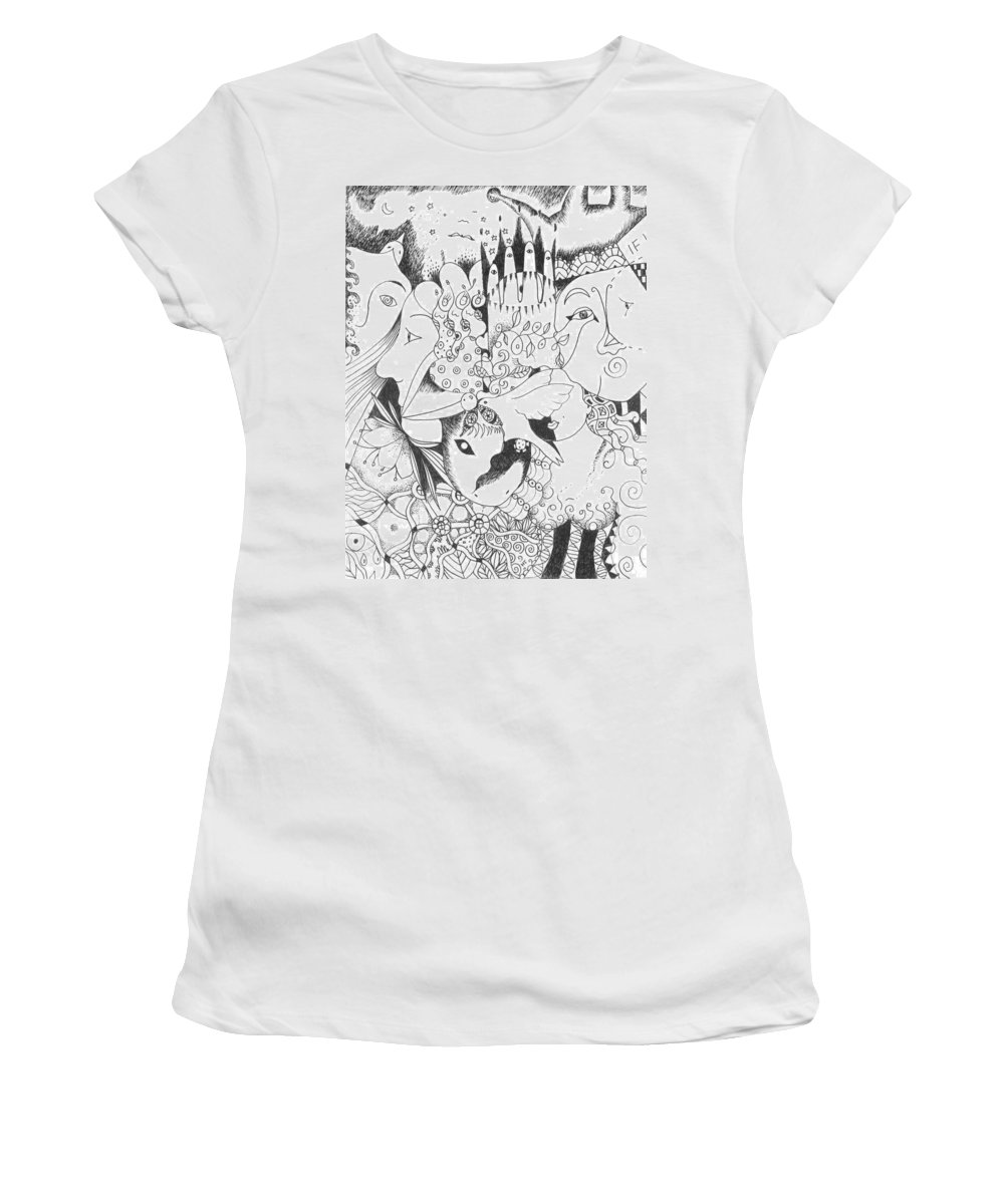 Microbes Women's T-Shirt (Athletic Fit) featuring the drawing You And Me And The Seemingly Silent by Helena Tiainen
