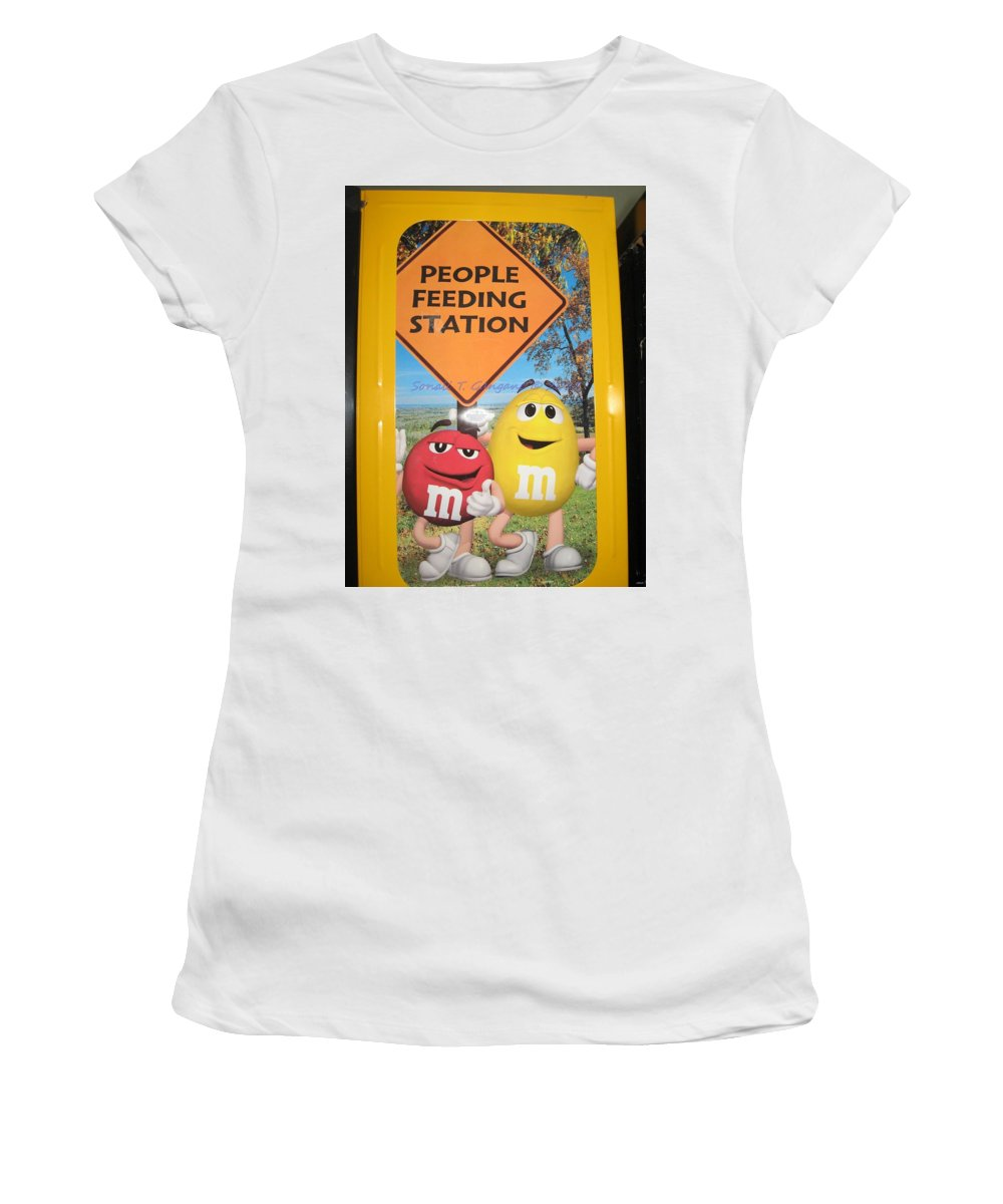 Feeding Women's T-Shirt (Athletic Fit) featuring the photograph Yummy M And M's by Sonali Gangane