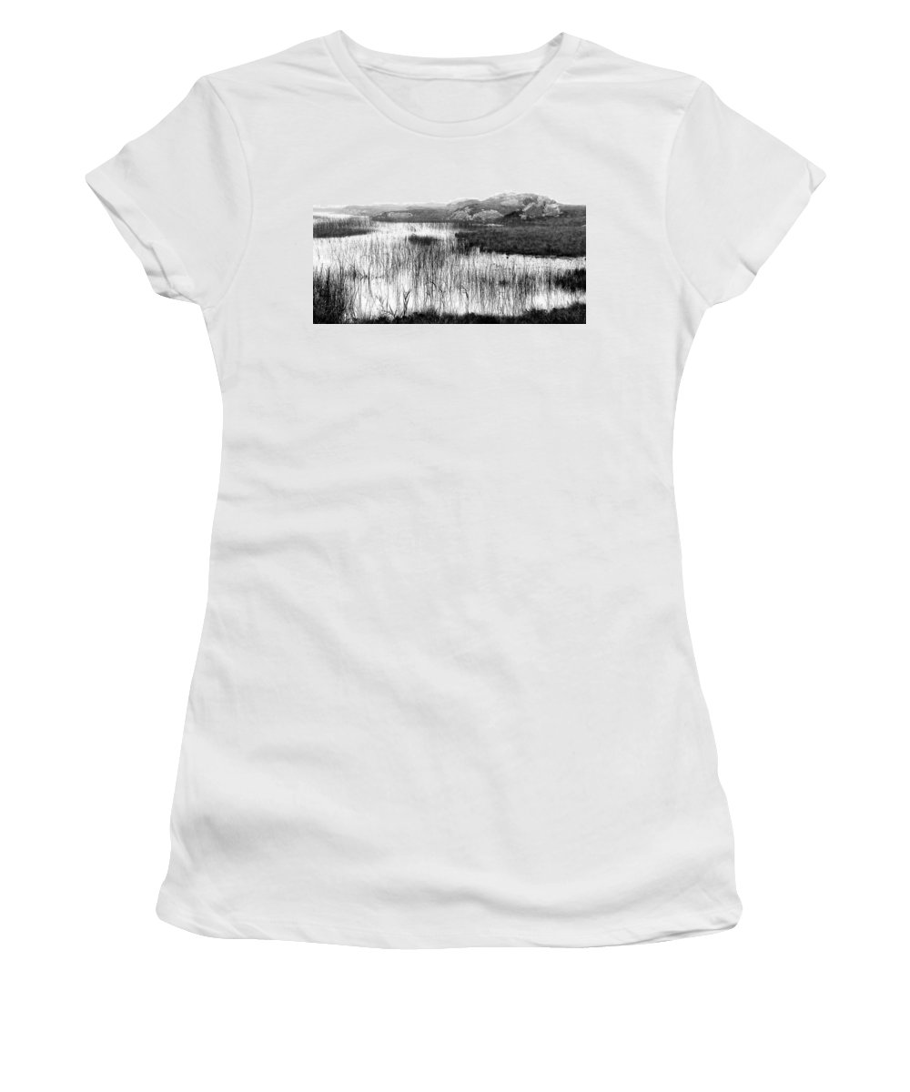 Bw Women's T-Shirt featuring the photograph Zen Pond In Ireland by David Resnikoff