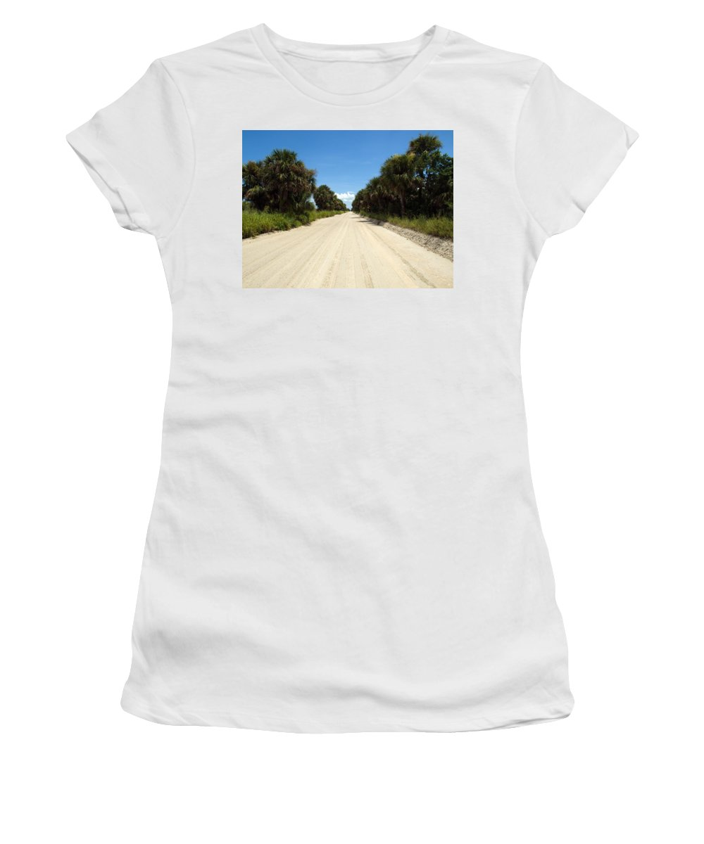 Florida; Road; Back; Backroad; Central; Dirt; Plow; Plowed; Clay; Mud; Muddy; Places; Unknown; Trave Women's T-Shirt featuring the photograph Back Road In Central Florida. by Allan Hughes