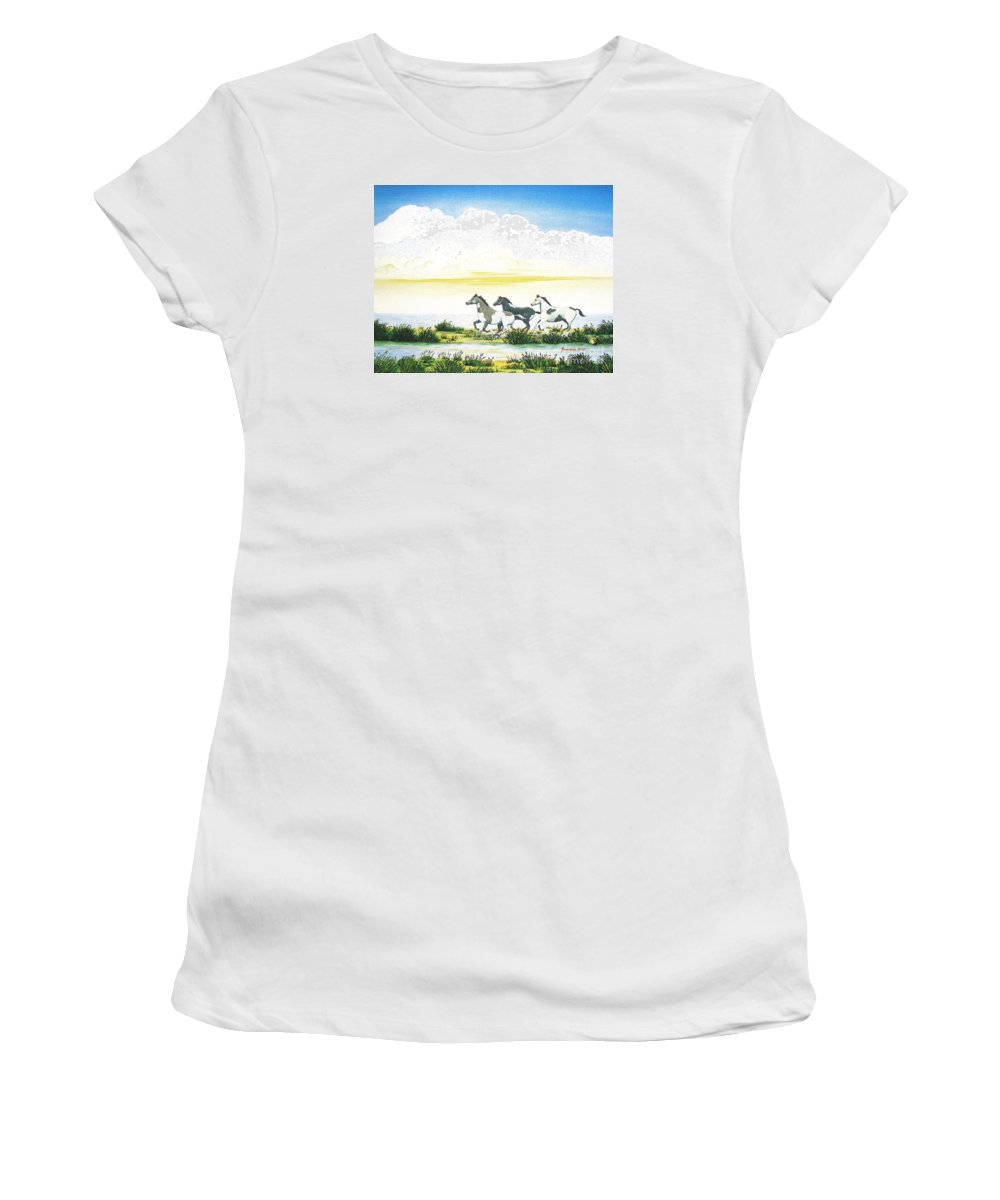 Chincoteague Women's T-Shirt (Athletic Fit) featuring the painting Indian Ponies by Jerome Stumphauzer