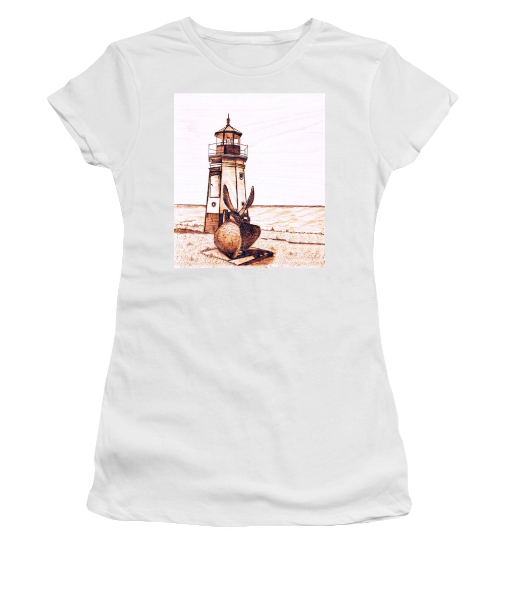 Lighthouse Women's T-Shirt (Athletic Fit) featuring the pyrography Vermilion Lighthouse by Danette Smith