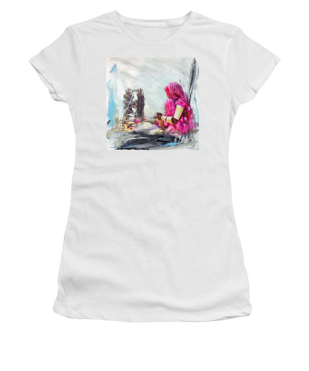 Women Women's T-Shirt featuring the painting 024 Sindh by Maryam Mughal