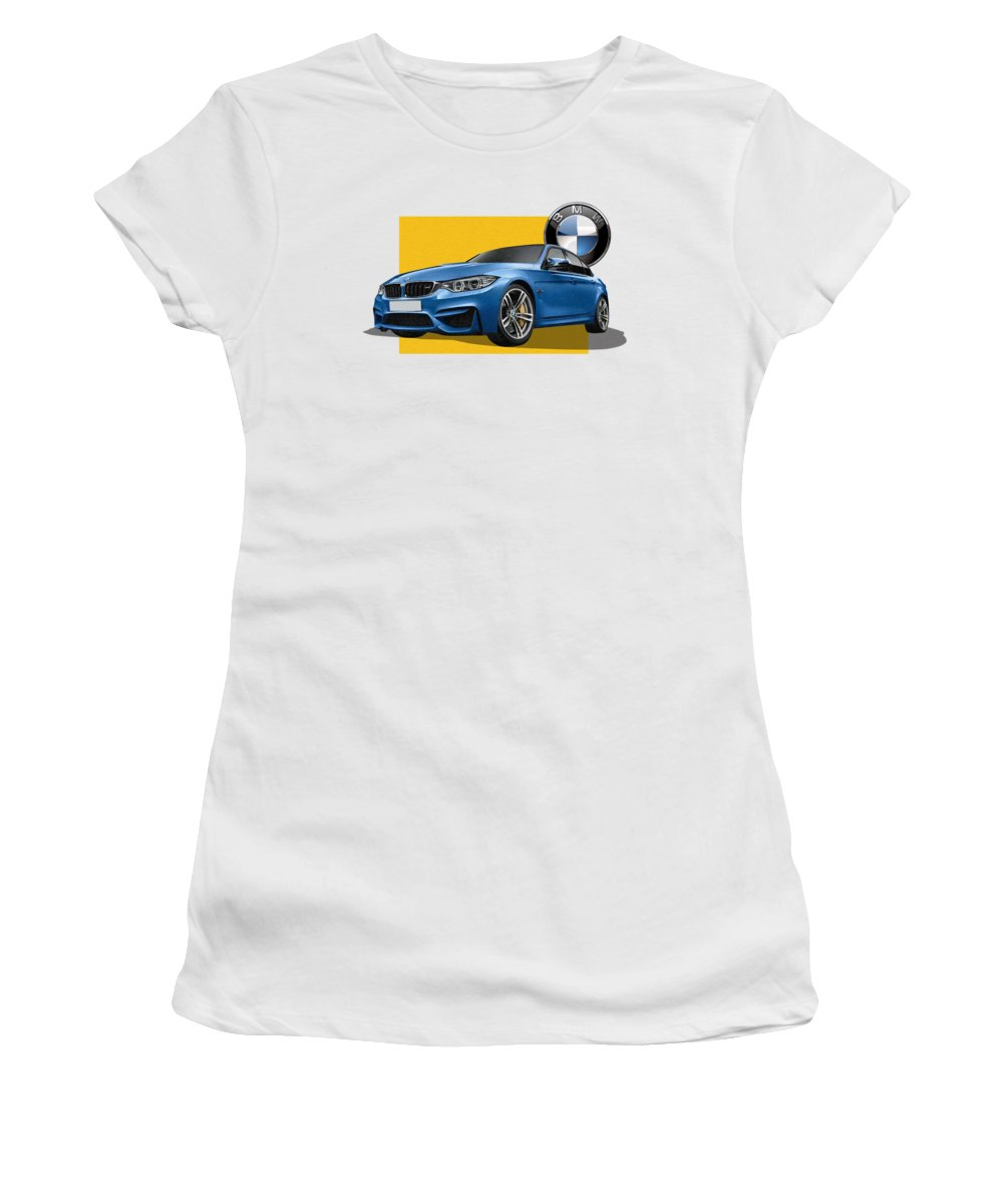 �bmw� Collection By Serge Averbukh Women's T-Shirt featuring the photograph 2016 B M W M 3 Sedan with 3 D Badge by Serge Averbukh