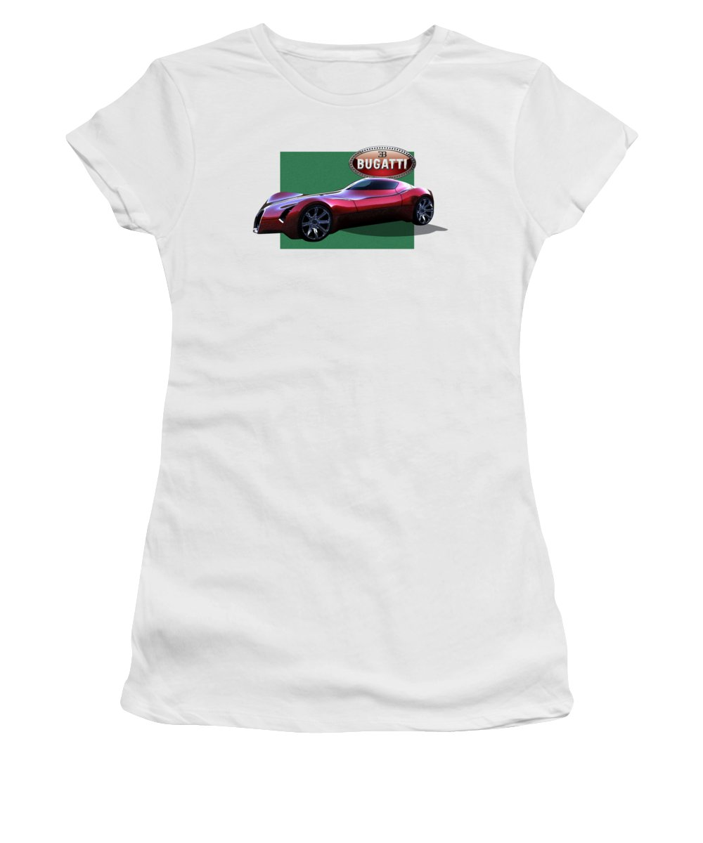 �bugatti� By Serge Averbukh Women's T-Shirt featuring the photograph 2025 Bugatti Aerolithe Concept With 3 D Badge by Serge Averbukh