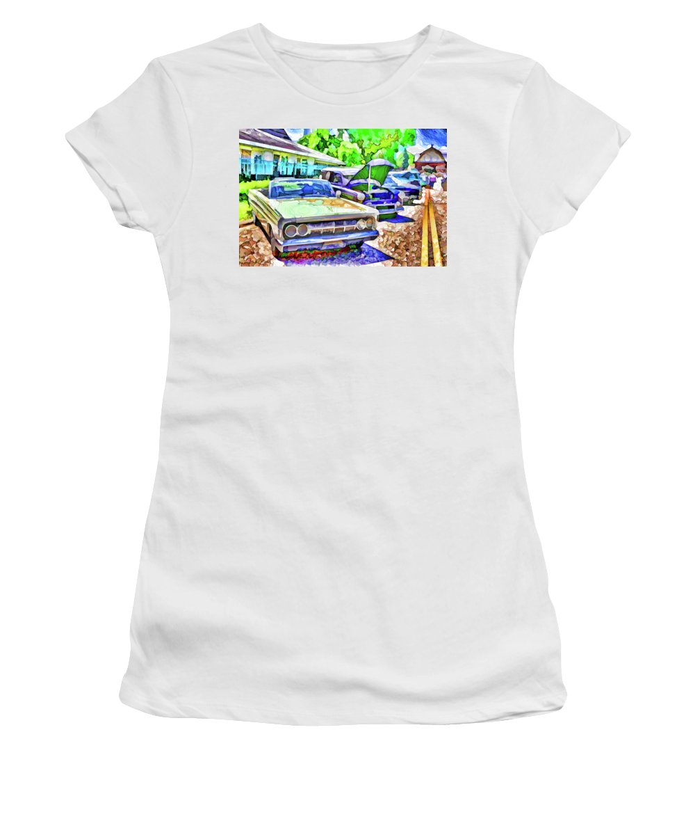 Show Women's T-Shirt (Athletic Fit) featuring the painting A Line Of Classic Antique Cars 3 by Jeelan Clark