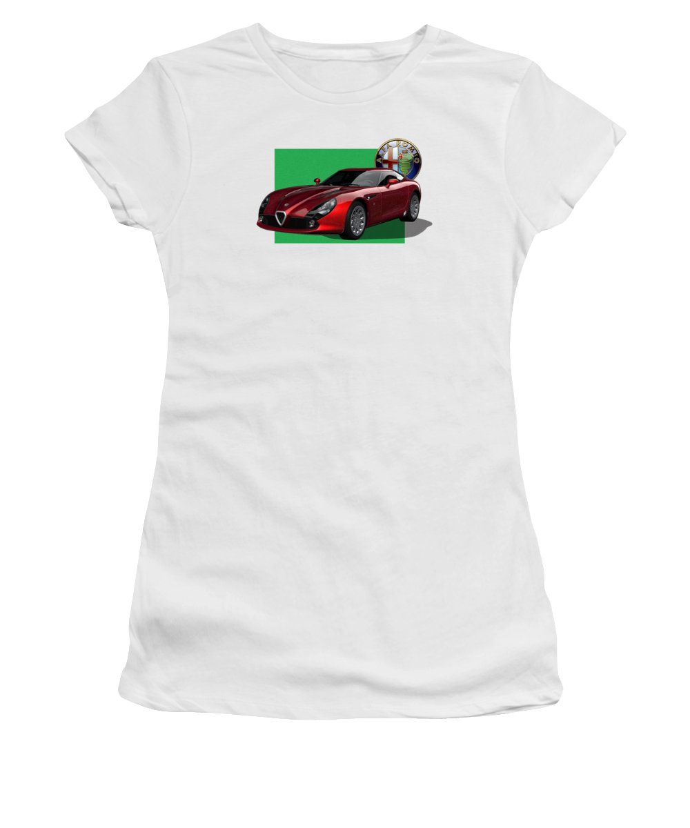 �alfa Romeo� By Serge Averbukh Women's T-Shirt featuring the photograph Alfa Romeo Zagato T Z 3 Stradale With 3 D Badge by Serge Averbukh