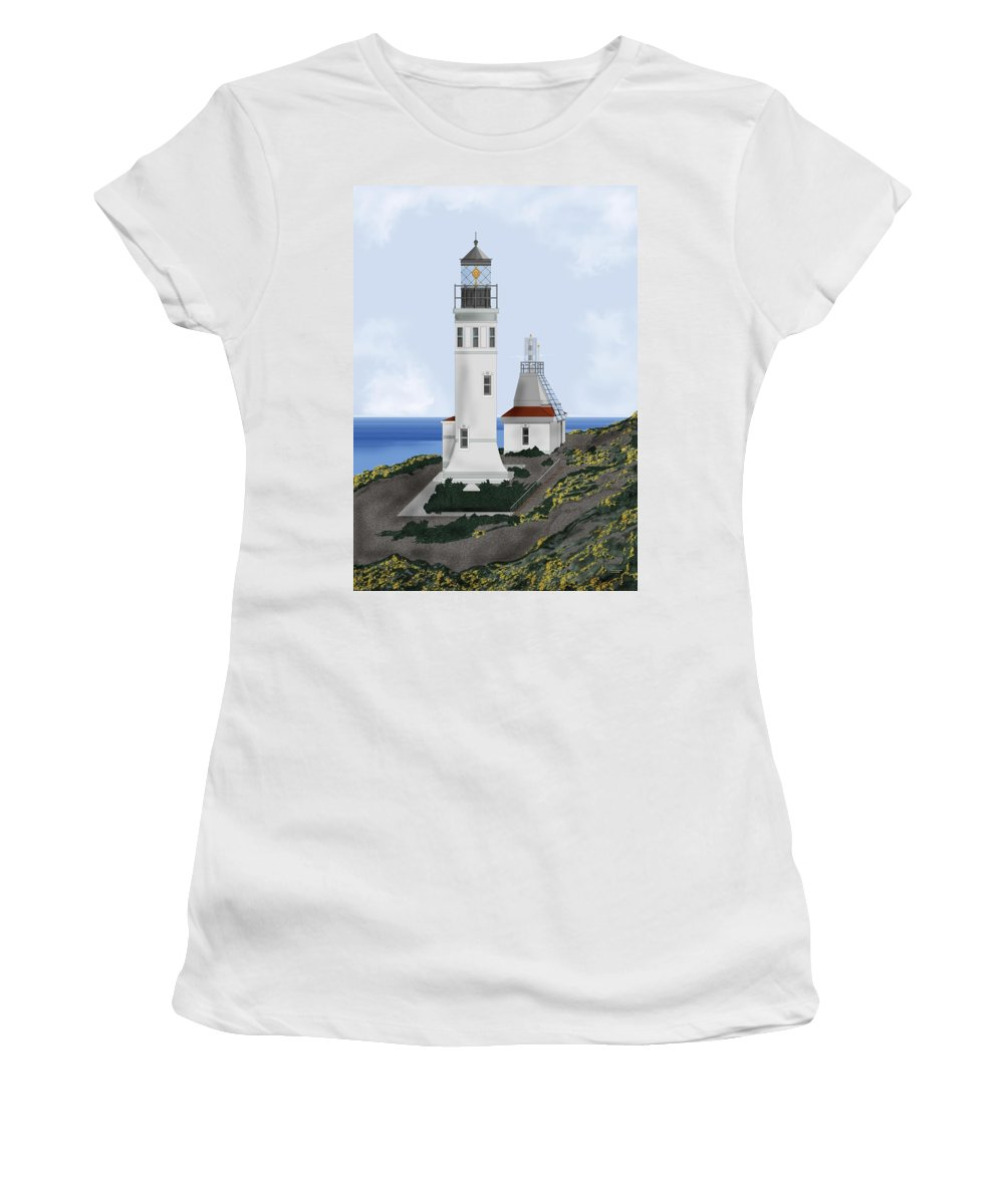 Lighthouse Women's T-Shirt (Athletic Fit) featuring the painting Anacapa Lighthouse California by Anne Norskog
