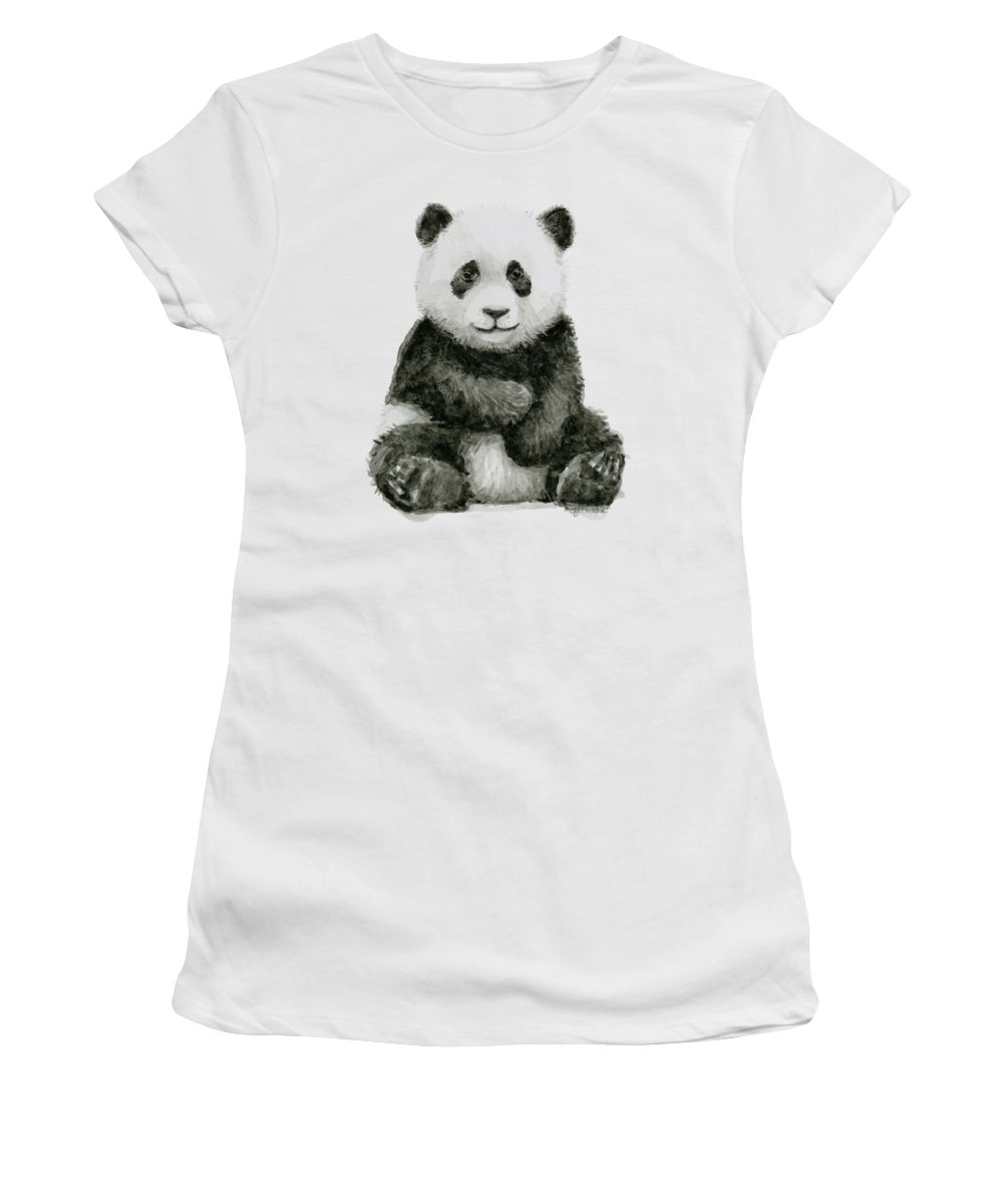 Baby Panda Women's T-Shirt featuring the painting Baby Panda Watercolor by Olga Shvartsur