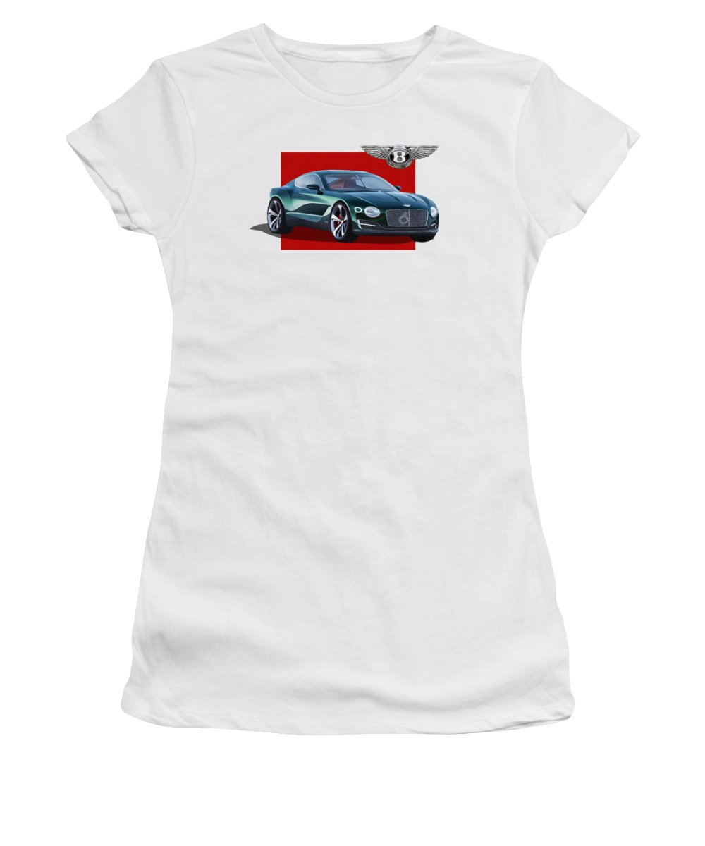 �bentley� Collection By Serge Averbukh Women's T-Shirt featuring the photograph Bentley E X P 10 Speed 6 With 3 D Badge by Serge Averbukh