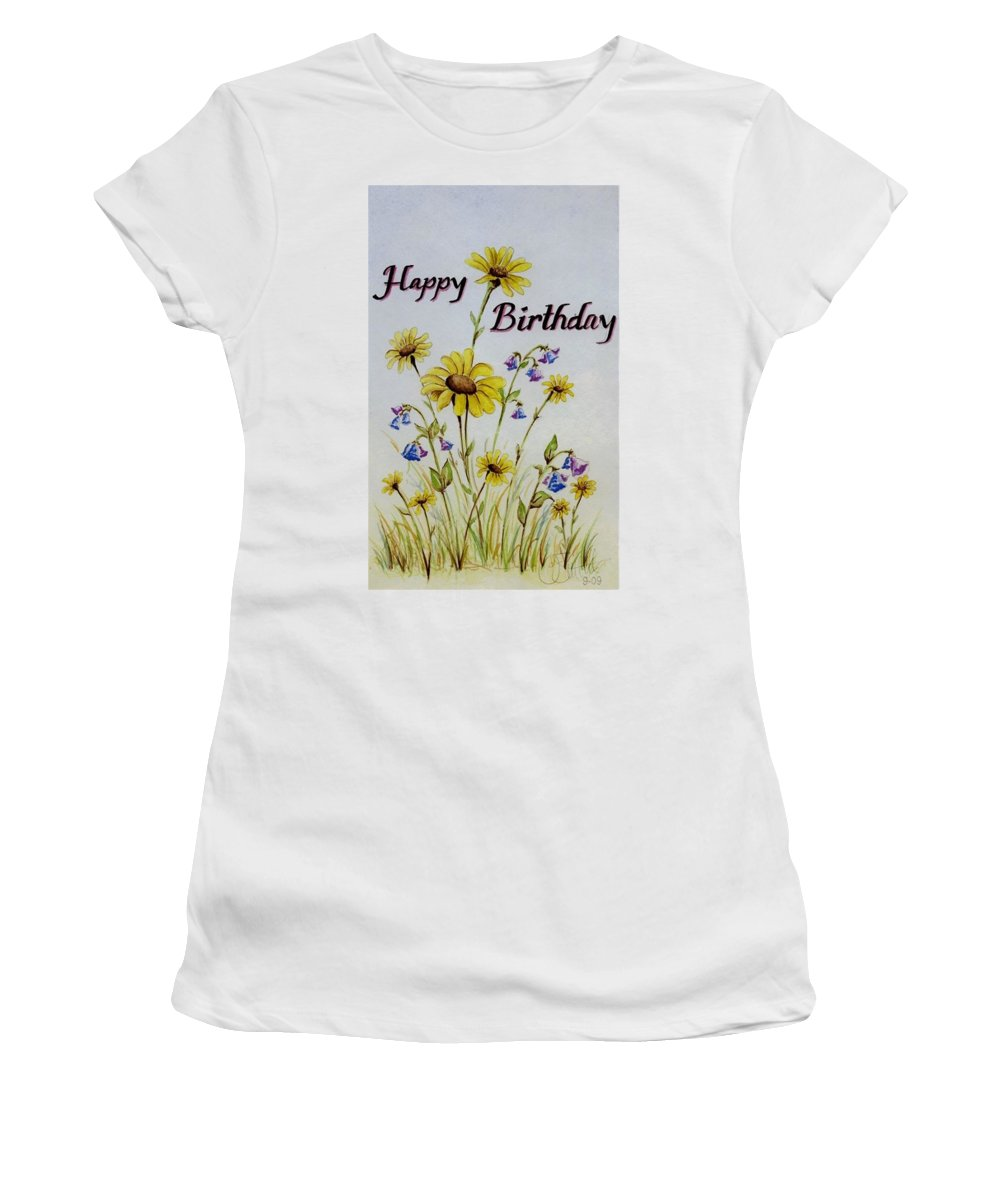 Card Women's T-Shirt (Athletic Fit) featuring the painting Birthday Card by Jimmy Smith