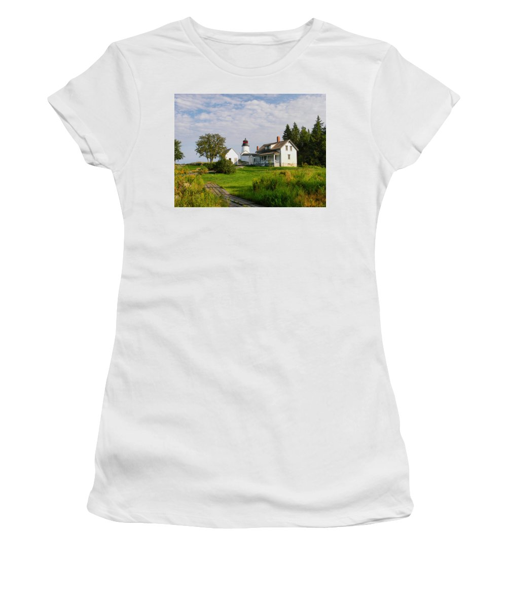 New England Lighthouse Women's T-Shirt (Athletic Fit) featuring the photograph Burnt Island Lighthouse by Nancie DeMellia