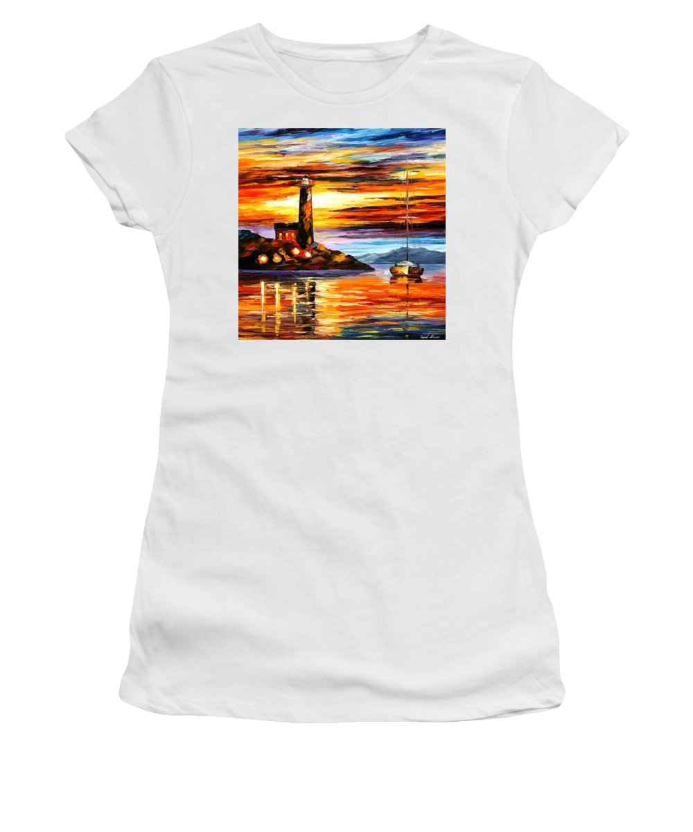 Afremov Women's T-Shirt (Athletic Fit) featuring the painting By The Lighthouse by Leonid Afremov