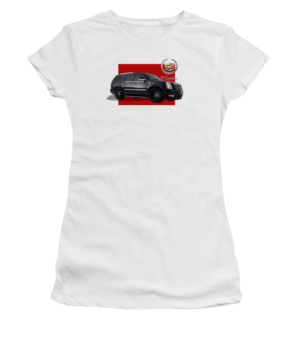 �cadillac� By Serge Averbukh Women's T-Shirt featuring the photograph Cadillac Escalade With 3 D Badge by Serge Averbukh