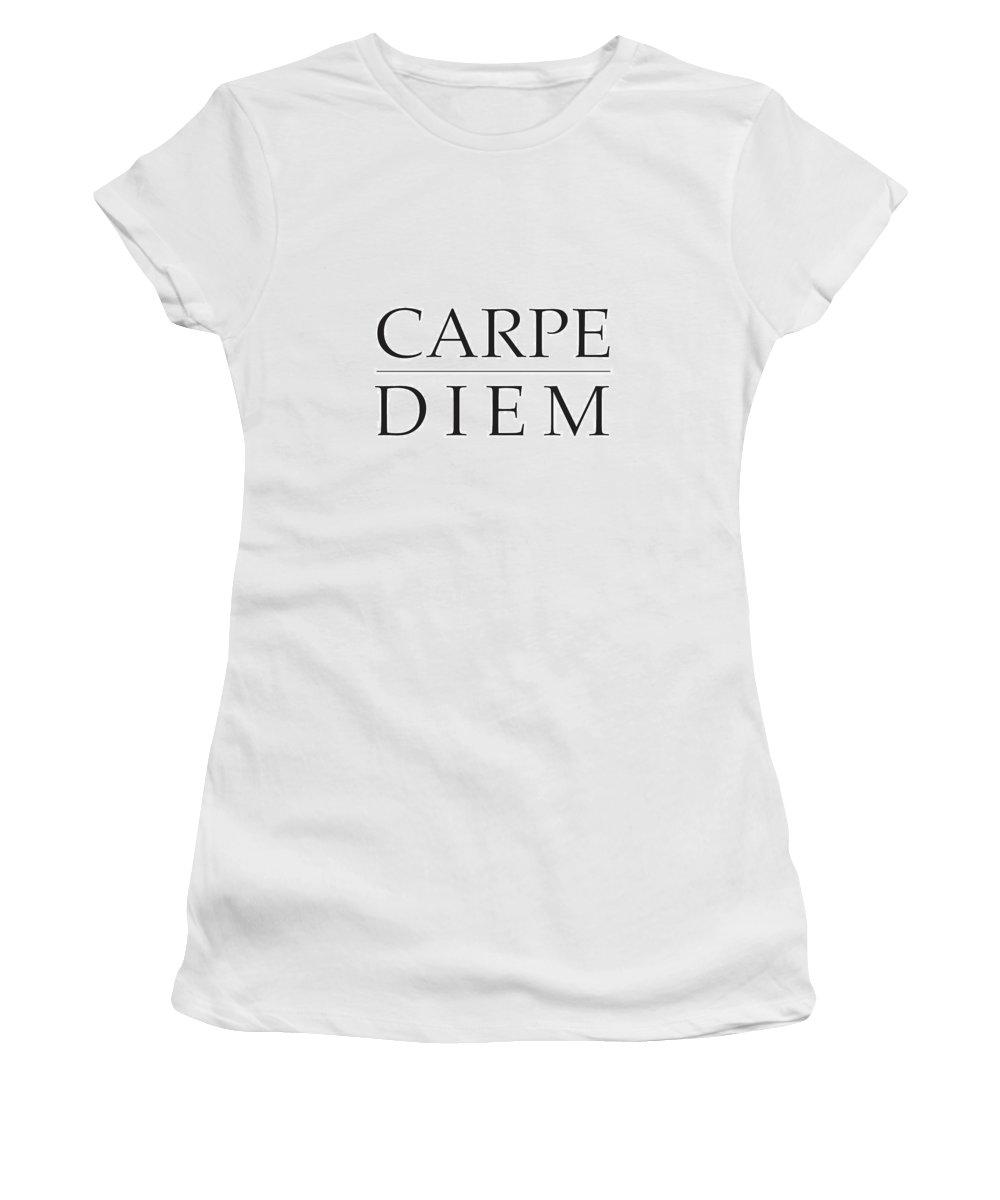 Carpe Diem Women's T-Shirt (Athletic Fit) featuring the mixed media Carpe Diem - Seize The Day by Studio Grafiikka