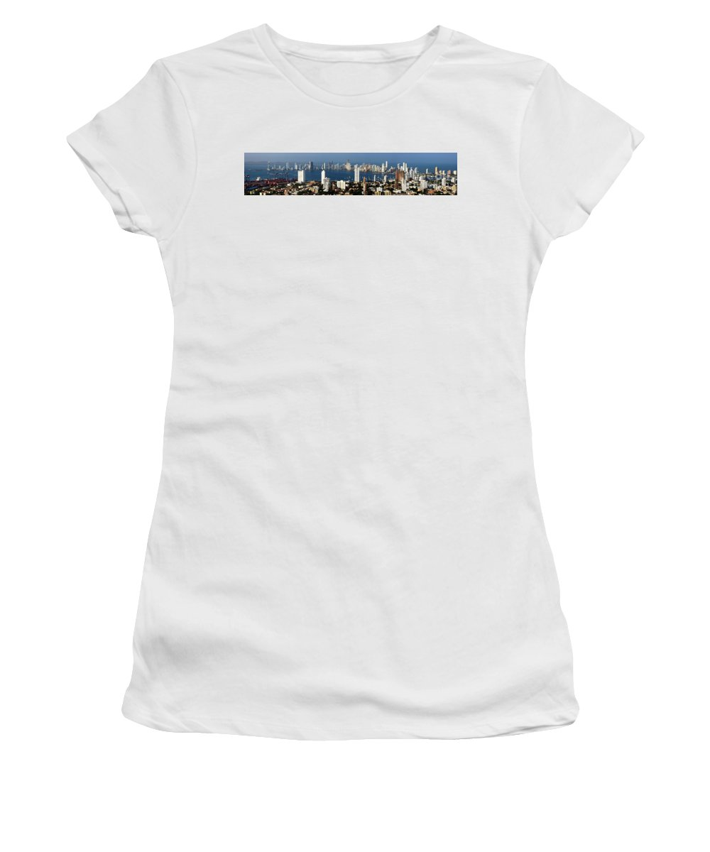 Cartwegena Women's T-Shirt (Athletic Fit) featuring the photograph Cartegena Colombia by Thomas Marchessault