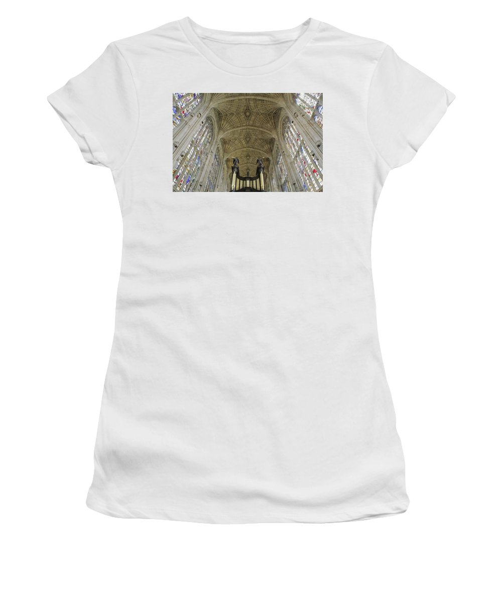Photography Women's T-Shirt (Athletic Fit) featuring the photograph Ceiling Of Kings College Chapel by Axiom Photographic