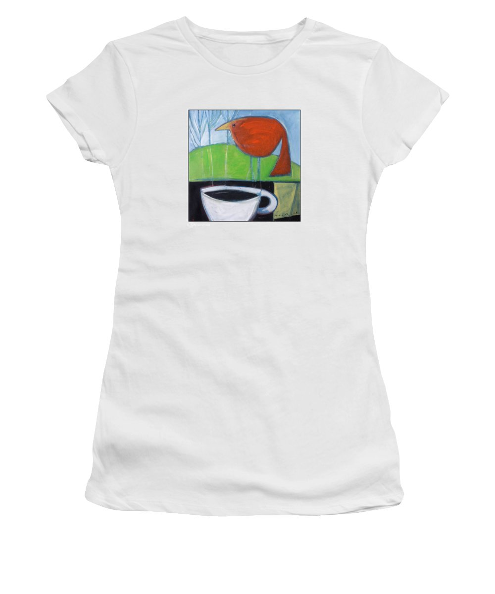 Bird Women's T-Shirt (Athletic Fit) featuring the painting Coffee With Red Bird by Tim Nyberg
