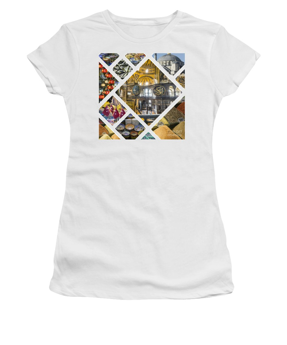 Istanbul Women's T-Shirt (Athletic Fit) featuring the photograph Collage Of Istanbul by Mariusz Prusaczyk