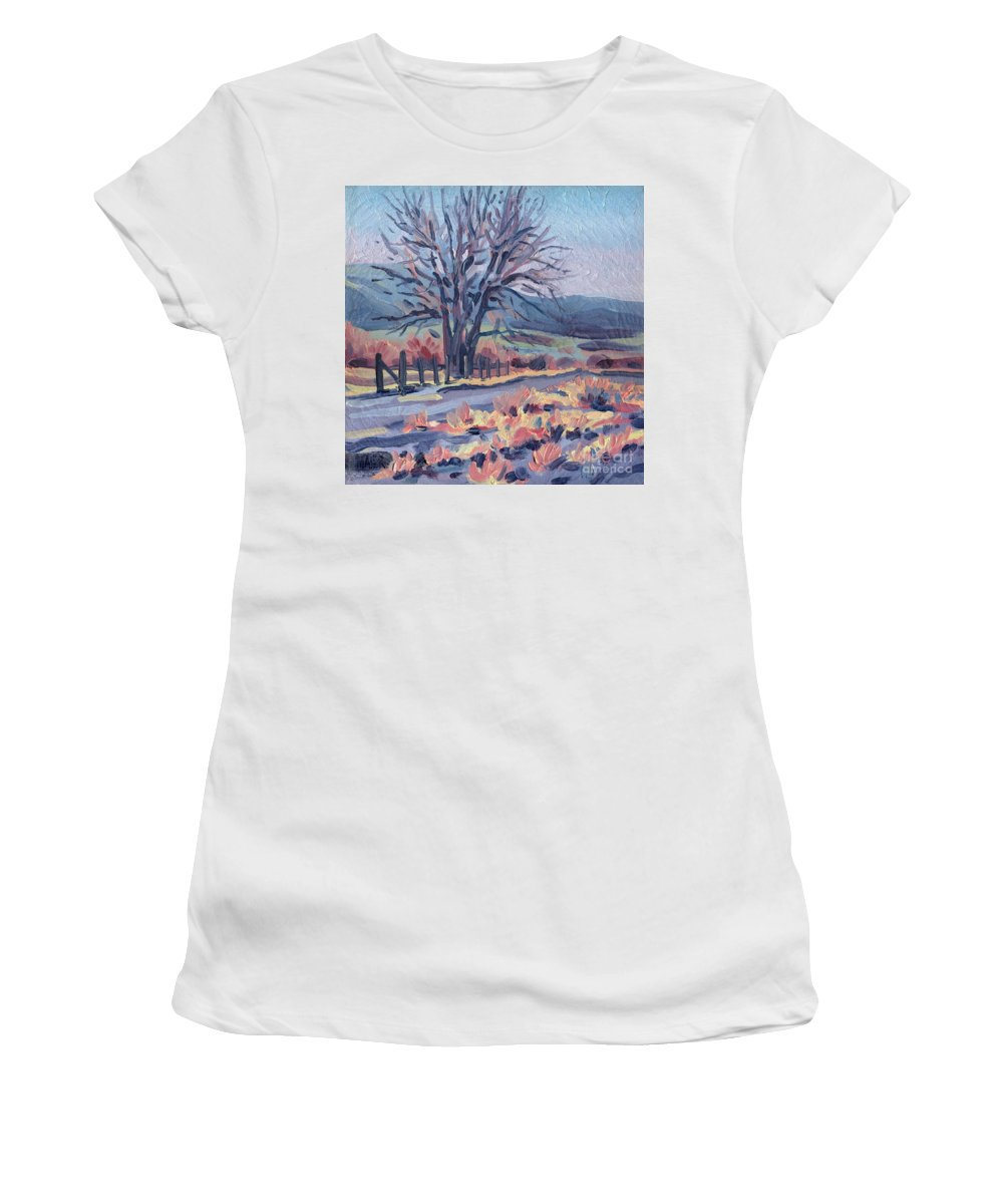 Road Women's T-Shirt (Athletic Fit) featuring the painting Country Road by Donald Maier