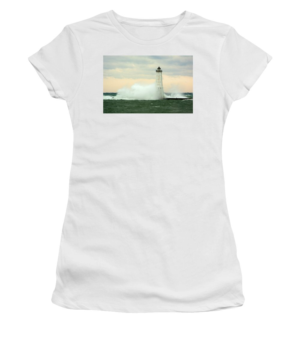 Great Lake Women's T-Shirt (Athletic Fit) featuring the photograph Crash by Linda Kerkau