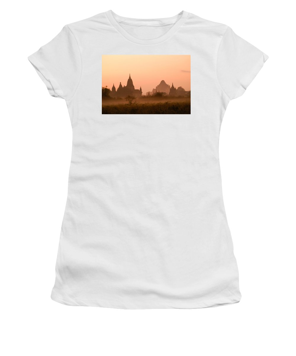 Sunrise Women's T-Shirt (Athletic Fit) featuring the photograph Dawn In Burma by Michele Burgess