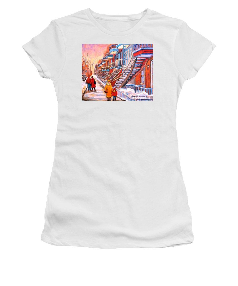 Debullion Street Winter Walk Women's T-Shirt (Athletic Fit) featuring the painting Debullion Street Winter Walk by Carole Spandau