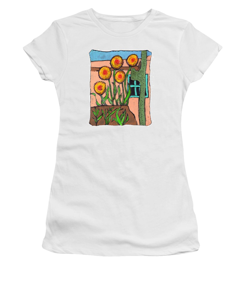 Desert Women's T-Shirt (Athletic Fit) featuring the painting Desert Fantasy by Wayne Potrafka