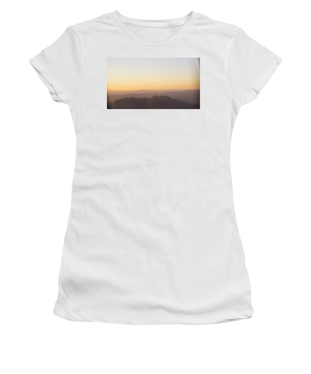 Sunrise Women's T-Shirt featuring the photograph Desert Sun by Emily Smith