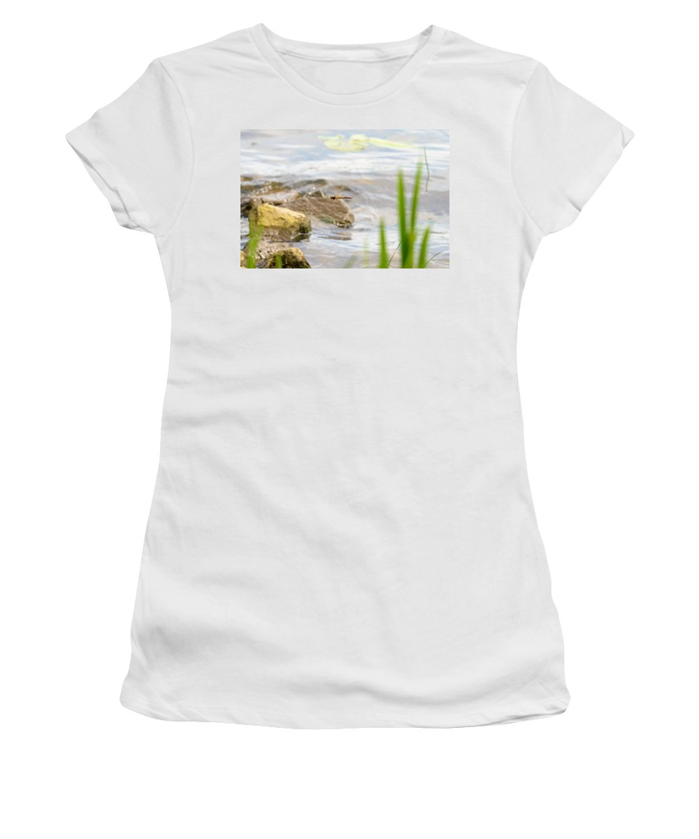Dnieper Women's T-Shirt featuring the photograph Dragonfly Flying by Alain De Maximy