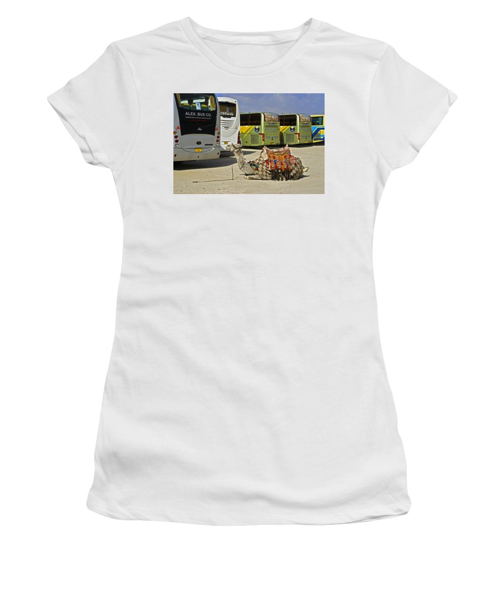 Humor Women's T-Shirt (Athletic Fit) featuring the photograph Egyptian Parking Lot by Michele Burgess